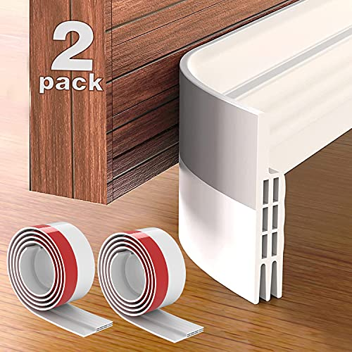 """Grotheory 2 Pack Door Draft Stopper Under Door Seal, Door Sweep for Exterior & Interior Doors, Door Draft Blocker Dust and Noise Insulation Weather Stripping Draft Guard Insulator, 39"""" L X 2"""" W, White"""
