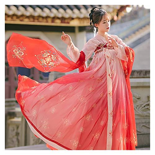 LUOSI Hanfu Femmes Robe Style Chinois Fée Princess Red Hanfu Vêtements Femelle Traditionnelle Ancienne Costumes de Danse Classique (Color : Tops and Skirt 3M, Size : L)