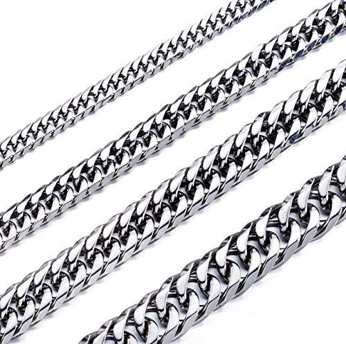 Collar de cadena de acero inoxidable con doble eslabón de 0.197in de alto pulido de 16.0in para hombre y mujer, acero inoxidable, 22, JN01345SR142202