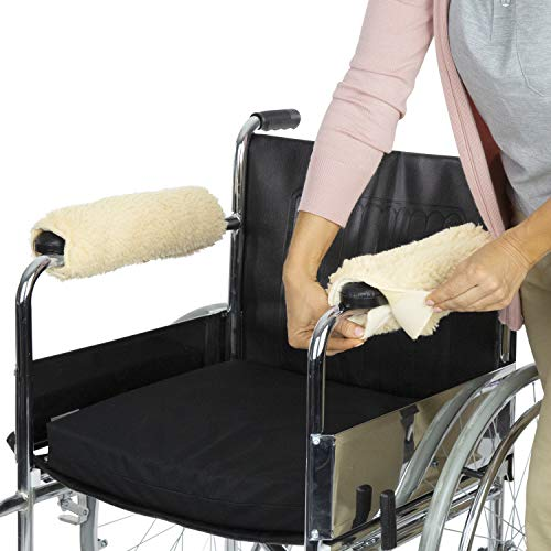 Vive Wheelchair Armrest Cover (Pair) - Memory Foam Sheepskin Pad for Office & Transport Chair - Soft Support Cushion Accessories for Padded Arm Rest, Kids, Adults - Comfort Padding Pressure Relief
