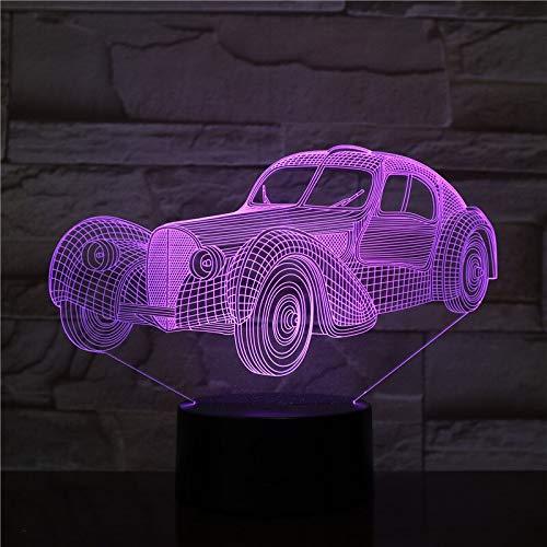 Cambio de color led decoración fresca luz de noche LED coche clásico sensor 3d holograma coche clásico luz visual de Halloween atmósfera de regalo