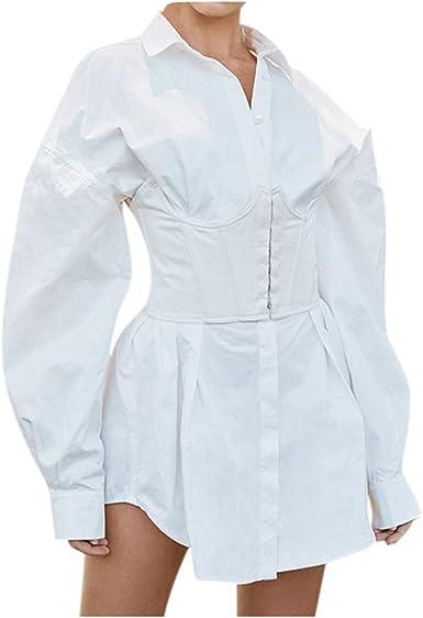 Camisa Blanca de Manga Larga para Mujer con Cintura Alta y ...