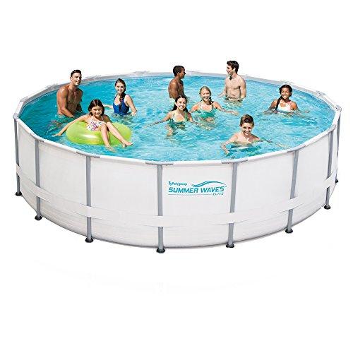 Summer Waves Elite Metal Frame Swimming Pool Package, 15-ft Round x 48-in Deep