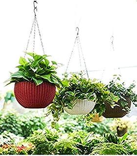 Plastic Flower Pot With Hanging Chain, Multicolour, Size- B-21 cm, H-13 cm, 3 Pieces