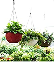 gereric 3 pcs Euro Hanging Basket Waven Flower Pot with Hanging Chain for Balcony Decoration in Multicolor