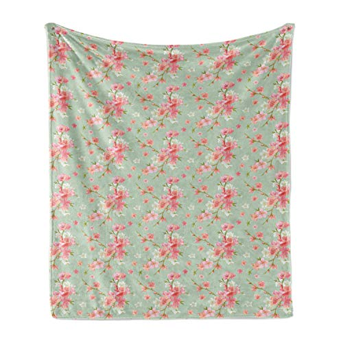 Ambesonne Shabby Flora Soft Flannel Fleece Throw Blanket, Retro Spring Blossom Flowers French Garden Florets Garland Artisan Image, Cozy Plush for Indoor and Outdoor Use, 70' x 90', Mint Pink