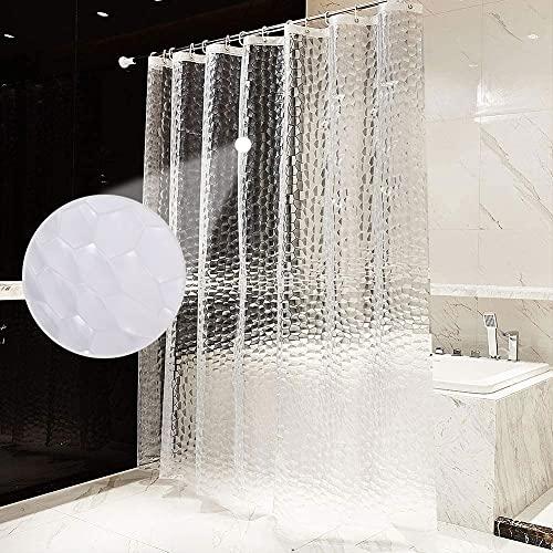 Tenda da Doccia,Tenda Vasca da Bagno EVA Antimuffa Impermeabile 3D Semitransparente Ecologico Tende Doccia Lavabile con 12 Ganci Antiruggine (180 x 200 cm)