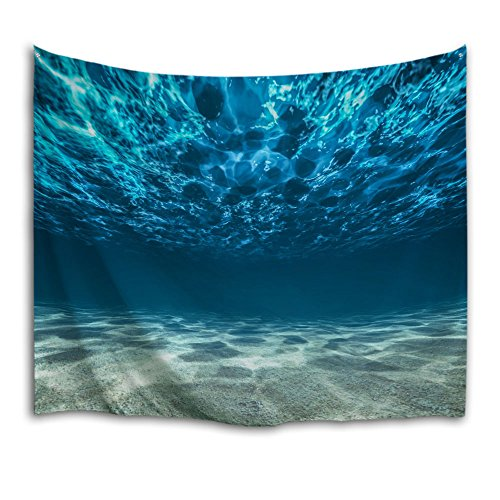 QIYI Tapestry Wall Hanging Nature Polyester Fabric Tapestries Ocean Art For Dorm Room, Bedroom, Living Room Home Decorations Blue Large Blanket 229cm X 153cm - Under The Sea
