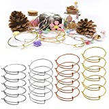 24 PCS Expandable Bangle Bracelet, Adjustable Wire Blank Bracelet Expandable Bangle for DIY Jewelry Making, White K, Silver, Gold and Rose Gold