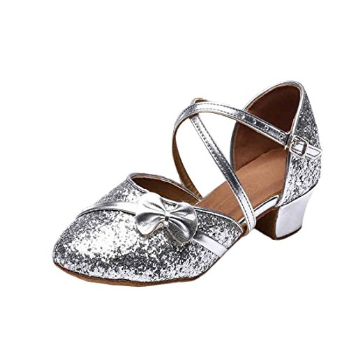 Prinzessin Schuhe mit Absatz Kinder High-Heels Tanzschuhe Pailletten Karneval Latin Schuhe