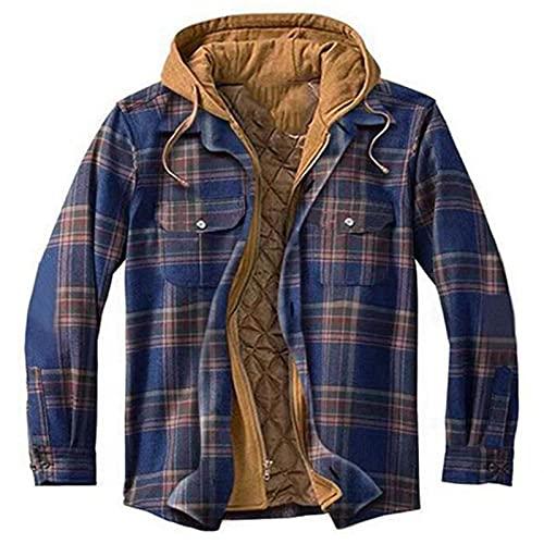 SSBZYES Camisas para Hombres Camisas de Manga Larga Ropa Gruesa con Relleno de algodón Camisas de Gran tamaño Plaid Manga Larga Chaqueta con Capucha Suelta Chaquetas Camisas de Manga Larga