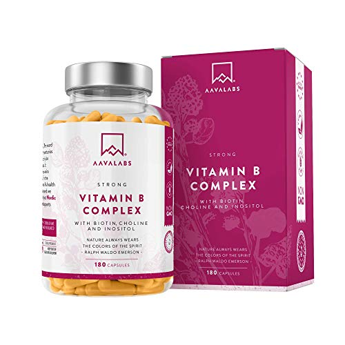 Complejo de Vitamina B - 180 Cápsulas para 6 Meses - 286,3 mg/Dosis Diaria - 8 Vitaminas B: B1, B2, B3, B5, B6, Biotina, B9 (Folato) y B12 - Refuerza el Metabolismo - 100% Vegano