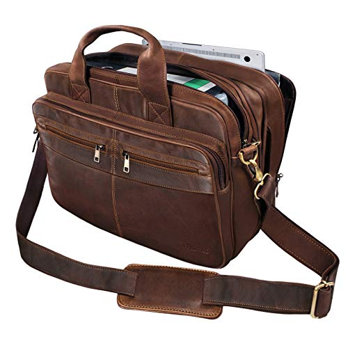 STILORD 'Alexander' Lehrertasche Herren Leder Vintage Aktentasche Laptoptasche Bürotasche Businesstasche groß XXL Umhängetasche mit Dreifachtrenner, Farbe:Cognac - Dunkelbraun