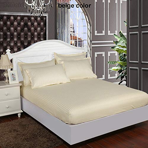 Hllhpc Pure White 60s Stripes Hotel Hoeslaken 100% Satijn Katoen Bed Sheet Twin Full Queenk Koning Bedspreien