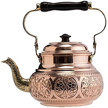 (2 Variations) DEMMEX 2017 Hammered Copper Tea Pot Kettle Stovetop Teapot, 1.6-Quart (Engraved Copper)