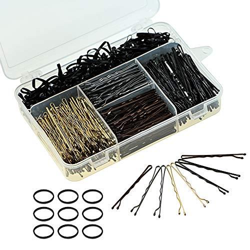 600 Stück Bobby Pins 400 Haarnadeln Haarspangen und 200 Stück Haarbänder für Frauen Mädchen (Schwarz / Gold / Silber / Braun, 5 cm)