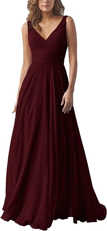 Long-awaited Fanciest V Neck Chiffon Bridesmaid Cheap D Dresses Long Pleated Formal