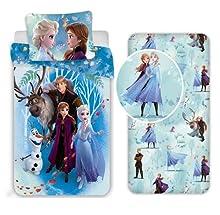 Frozen Sisters Family - Juego de cama individual de 3 piezas, funda de edredón + funda de almohada + sábana bajera de algodón