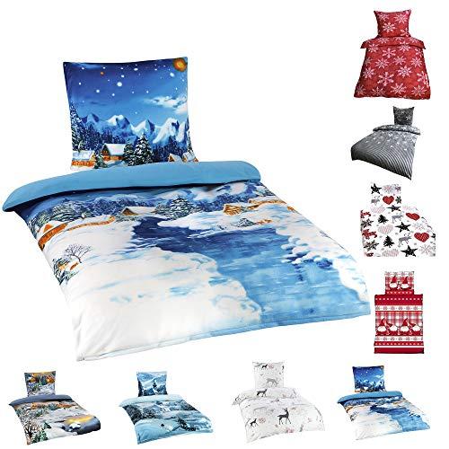 Winter Flausch Bettwäsche Weihnachten Motive Microfaser Thermo Fleece, 2x 135x200 cm + 2x 80x80 cm Winterhills