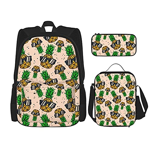 Piña Mochila escolar para niños, bolsa de almuerzo con estuche para lápices, set de 3 en 1, Piñas con gafas de sol, Taille unique