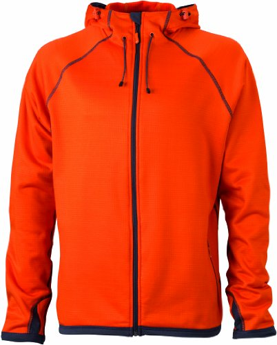 James & Nicholson Herren Jacke Fleecejacke Men's Hooded orange (dark-orange/carbon) Large