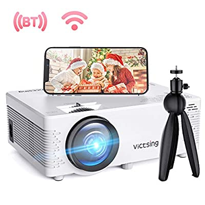 VicTsing WiFi Projector, Bluetooth & Screen Mirroring, 3600 Lux Wireless Projector Bluetooth with Tripod, 1080P Supported, HiFi Sound. Mini Projector Compatible with TV Stick, PS4.?2019 New Tech?