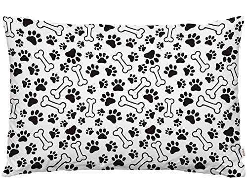 EKOBLA Throw Pillow Cover Dogs Paws and Bones Paw Print Pet Cute Animal Lovely Cartoon Adorable Footprint Decor Lumbar Pillow Case Cushion for Sofa Couch Bed Standard Queen Size 20x30 Inch