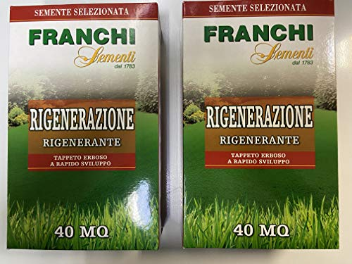 Franchi Sementi Rigenerazione Miscuglio di Semi per Tappeti Erbosi, 1 kg OFFERTA X 2 PEZZI CON GUANTI IN OMAGGIO