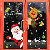 Weihnachtsdekoration Fenster Glastür Aufkleber Szene Layout Weihnachtsbaum alten Mann Schneeflocke Anhänger Urlaub Atmosphäre - Weihnachtsmann elektrostatische Aufkleber_Oversized