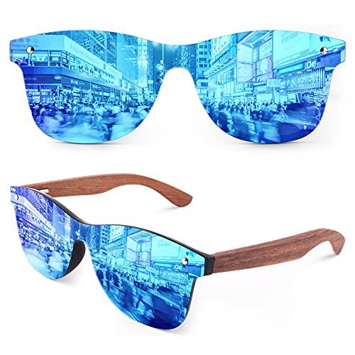 GQUEEN Gafas de sol Hombre Mujer Polarizadas Rectangulares Clásicas de Madera con Protección UV MOS09