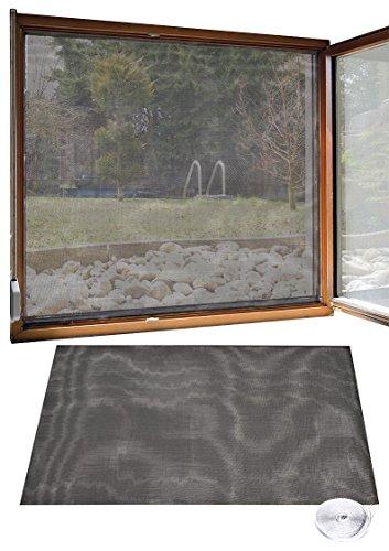 infactory Fliegennetz: Fliegengitter für Fenster, 130 x 150 cm inkl. 6 m Klebeband (Mückengitter)