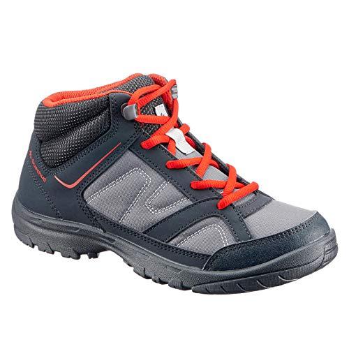 Quechua Kid's Hiking Shoes MH100 MID - Black Red (UK 2.5 - EU35)
