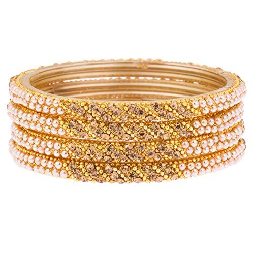 Efulgenz Indisches Bollywood Hochzeit Brautschmuck Strass Kristall Perle Handarbeit Acryl Armband Armreif Set Schmuck (4 Stück)