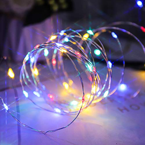 Guirlande Lumineuse Multicolore, à Piles, micro LED avec Cuivre, 50 Micro LED Multicolores, 5 m, pour intérieur et extérieur, avec Minuterie d'économie de Batterie