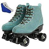 FORIDE - Patines de rodillos clásicos de alta parte superior para mujer, patines de cuatro ruedas, patines brillantes para adultos, jóvenes y niñas al aire libre con bolsa de zapatos (azul, 44)