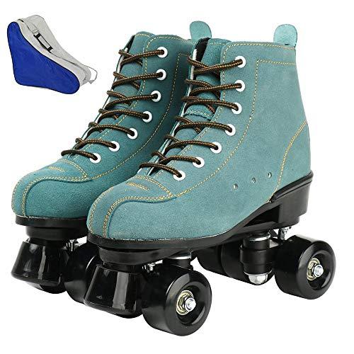 FORIDE - Patines de rodillos clásicos de alta parte superior para mujer, patines de cuatro ruedas, patines brillantes para adultos, jóvenes y niñas al aire libre con bolsa de zapatos (azul, 41)