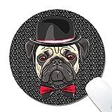 newcoverプレミアム防水ラウンドゲームマウスパッド パーソナリティテクスチャマウスマットデザイン パグ犬柄 ノンスリップゴムベースforラップトップ コンピュータ PC 8x 8x 0.12インチ