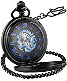 LYMFHCH Steampunk Roman Mechanical Pocket Watch, Mens Hands Scale Skeleton Pocket Watch with Chain Christmas Graduation Gifts Fathers Day