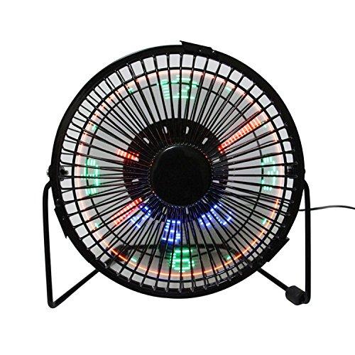 Contador LED programable Mensajes DIY ventilador de refrigeración, Desk USB LED reloj Ventilador (mrf-003), negro, 4inch