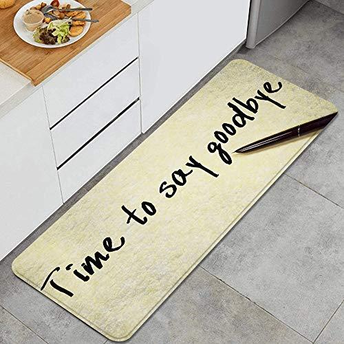 LONSANT Küchenteppiche,Zeit, Sich zu verabschieden Handschrift Tinte Stift und Papier,rutschfestes Küchenmatten und Teppichset Gummiunterlage Fußmatte Runner Teppich Set Maschinenwaschbar 45X120CM