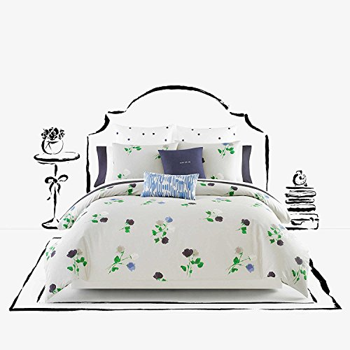 Kate Spade Willow Court Queen Full Duvet Cover Set, Platinum Grey Green Blue Floral