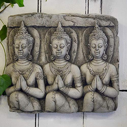 ONEFOLD - THREE BUDDHA WALL PLAQUE - HAND CAST STONE GARDEN...