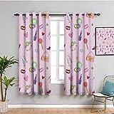 Cortinas opacas para ventana con diseño de chicas adolescentes con adornos de moda y maquillaje Lollipop flor reducir la luz de 52 x 63 pulgadas