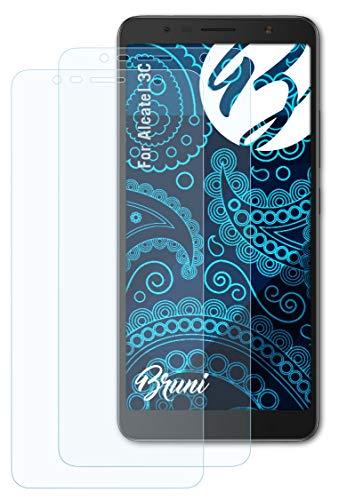 Bruni Schutzfolie kompatibel mit Alcatel 3C Folie, glasklare Bildschirmschutzfolie (2X)