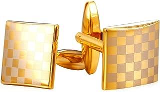 Men Women Simple Cufflinks Modern Tuxedo Shirt Studs 18K Gold/Platinum Plated Cuff Links