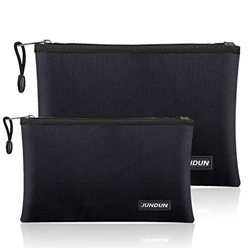 """JUNDUN Fireproof Document Bags,13.4""""x9.4"""" Waterproof and Fireproof Bag for Documents and 10.6""""x6.7"""" Fireproof Money Bag with Zipper,Silicone Fire Safe Storage Pouch for Documents,Money and Cash"""