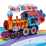 Paper Love Happy Birthday Train Pop Up Card, Handmade 3D Popup Bday Cards | 5' x 7'