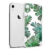 Funda iPhone XR, Eouine Cárcasa Silicona 3D Transparente con Dibujos Diseño Suave Gel TPU [Antigolpes] de Protector Bumper Case Cover Fundas para Movil Apple iPhone XR 2018-6,1 Pulgadas (Hojas)