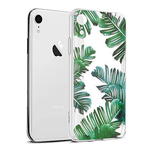 Eouine Funda para iPhone XR, Cárcasa Silicona 3D Transparente con Dibujos Diseño Suave Gel TPU [Antigolpes] de Protector Bumper Case Cover Fundas para Movil para iPhone XR 2018-6,1 Pulgadas (Hojas)