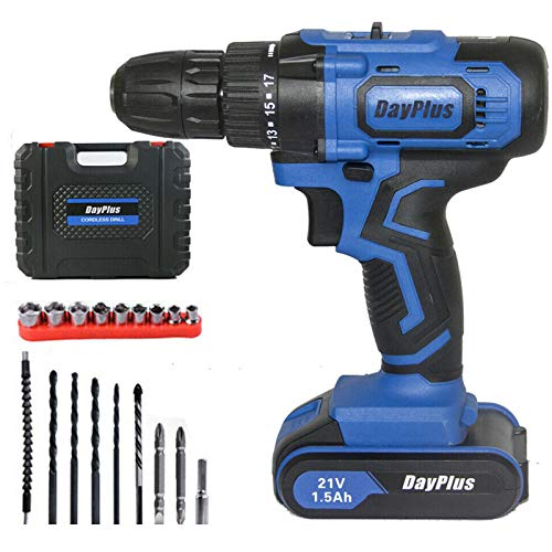 Power Cordless Drill Driver Kit, Impact 21V Cordless Drill Combi 2 Speed w/Li-ion Battery 18+1 Torque with 14mm 17mm 19mm 22mm Socket, Fast Charger & Carry Case